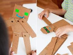Make it look like Steve or Enderman craft kids, cardboard robot, articulation activities, children toy, hand crafts, kids cuts, recycled crafts, craft ideas, cardboard crafts
