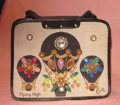 ENID COLLINS ~ VINTAGE JEWELED CANVAS HAND BAG ~ FLYING HIGH AIR BALLOONS ~