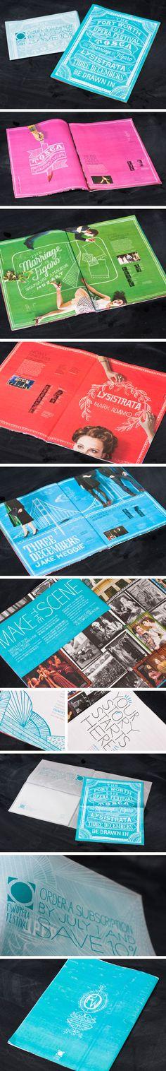 Fort Worth Opera brochure | Designer: Matchbox  Layout/typographic headlines/vibrant color