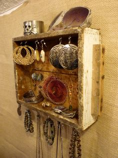 Jewelry display made out of an old dresser drawer.