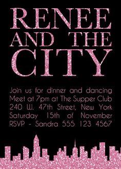 Pink City Skyline Bachelorette Hens Night Bridal Shower Invitation. $10.00, via Etsy.