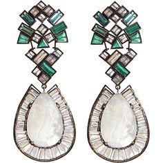 Nak Armstrong Rainbow Moonstone, Emerald, Green Tourmaline & Labradorite Earrings  #jewelry #style #beauty #fashion #glamour #couture #designer #pinterest