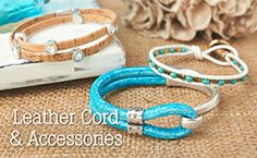 Leather cord and accessories to make stylish bracelets! GoodyBeads.com has a large selection of Licorice leather, flat leather and round leather.