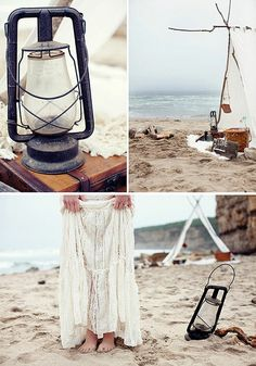 Sand. Water. A makeshift tent. Someone you love. Lovely date.