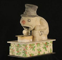 Antique German Christmas Snowman Eater Toy c1920