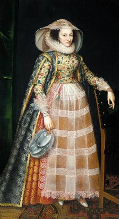 Portrait of a lady (Margaret Arundel/Lady Weston), attributed to Robert Peake the Younger, circa 1610-1616
