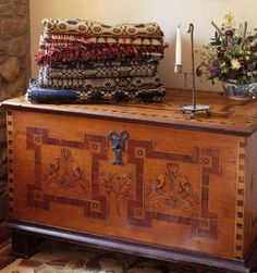 An antique Pennsylvania German painted chest.
