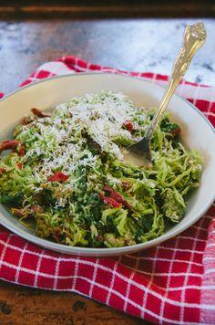 Spaghetti Squash Pesto Pasta With Chard & Sun Dried Tomatoes {Gluten-Free, Paleo & Vegan Option}