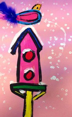 First Grade Winter Birdhouses