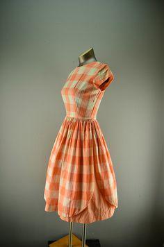 1950s apricot plaid dress / Vintage day dress / 50s garden dress. $68.00, via Etsy.
