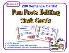 Editing Task Cards: 200 Fun Facts Sentence Cards, CCSS Aligned. $