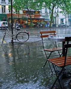 Rain in Paris...nothing is more romantic then walking in the rain on the streets of Paris