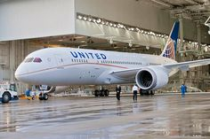 United 787 Dreamliner emerges from Boeing's Everett factory, complete with golden headtotail swoop