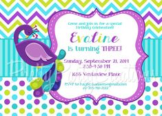 PEACOCK birthday invitation  3 to choose  by PrettyPartyCreations, $11.50