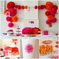 Love this party frame! pom poms, birthday parties, color, 40th birthday, birthday idea, paper flowers, birthday party decorations, parti idea, backdrop