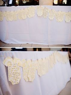 clotheslines, baby shower ideas, paper, messag, onesi, card, babi shower, kid, baby showers