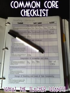 What the Teacher Wants!: Common Core checklist..have set up for each student