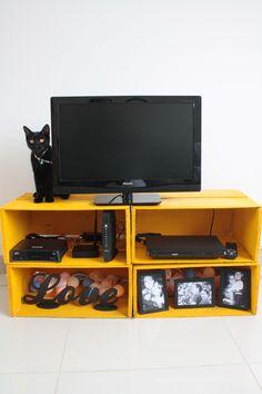 Estante de caixote, caixa de feira, gato