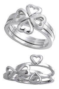 Shamrock Heart Stack Ring - Shamrock Rings: Presents for St. Patrick's Day