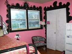 teen girls room... pink, black and white