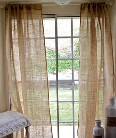 "Burlap Curtain Panel 40""x84""- shabby chic burlap - cottage beach- rustic curtains. $45.00, via Etsy."