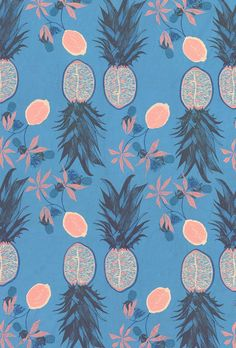 Hannah Rampley Repin Via: ANDWHATELSEISTHERE pineapples, textile patterns, color, blue hawaii, tropical fruits, textiles, print patterns, textile design, hannah rampley