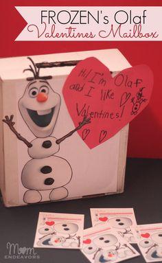 DIY Disney Frozen's Olaf Valentines mailbox, plus links to free Olaf valentines card printables via momendeavors.com! #Valentines #Disney