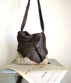 Hobo Tote in Dark Chocolate Brown Leather and Natural Beige Handweave - Made to Order. $239.00, via Etsy.