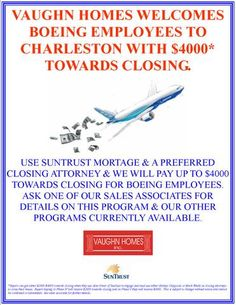 "Vaughn Homes welcomes Boeing Company employees to North Charleston, South Carolina with $4000* towards closing costs in Cedar Grove.  Visit Vaughn Homes open MODEL HOME 1-5PM FRI-WED 5415 Cannondale North Charleston, South Carolina and talk  to our Coldwell banker United representative to find out more about our incentive programs.  http://www.realbird.com/feed.aspx?id=D6C1D6C3    Boeing Careers Boeing Charleston Factory Boeing 787 ""Dreamliner"" Boeing  Boeing Everett Factory"