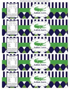 ARGYLE ALLIGATOR water labels  baby shower by PrettyPartyCreations, $6.50