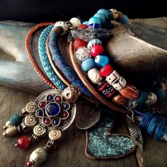 Gypsy bangle set in red and blue  gypsy bangles boho by quisnam, $65.00