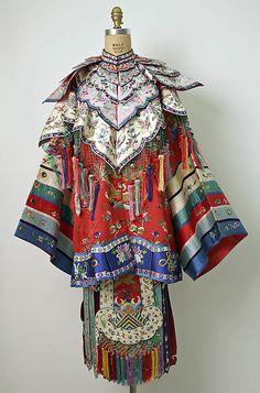 Ensemble, 20th c., Chinese minority (Manchu peoples), cotton, silk, metal, mirrors