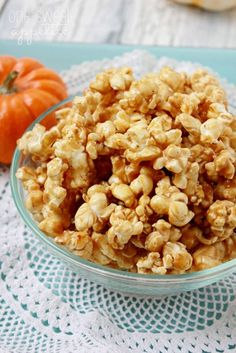 pumpkin-caramel-corn.  Add a sprinkle of salt when 1st put in oven then one more light sprinkle when it's baked!  So good