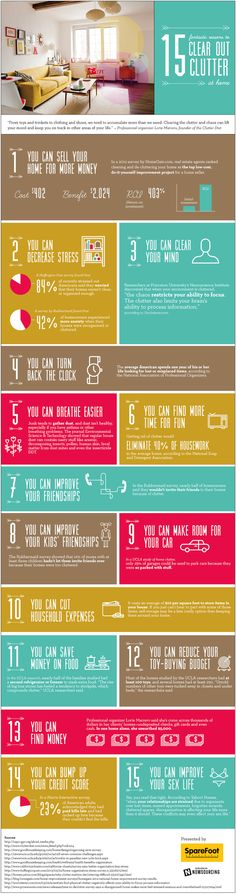 15 Fantastic Reasons to Clear Out the Clutter at Home. Clutter Infographic. #clean #organize