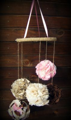 Burlap and Lace Fabric Pom Mobile