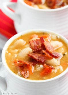 White Bean and Bacon Soup    2 cups of dried cannellini beans  5 strips of bacon, cut into tiny pieces  1 medium onion, diced  2 garlic cloves, minced  4 carrots, peeled and chopped  1 tbsp. (or more) of fresh rosemary, chopped  4 cups chicken stock  1 tbsp. tomato paste