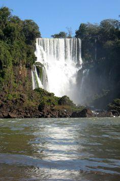 Cascading Iguazu Falls on the borders of Brazil and Argentina.