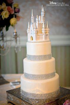 White chocolate Cinderella Castle bling wedding cake #Disney #fairytale