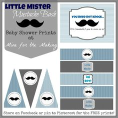 Little Mister Mustache Bash {baby shower} FREE party prints!!