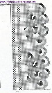 Filet Crochet Butterfly Edging chart...  Szydełkomania filete