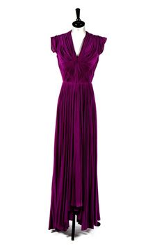 Madame Grès purple draped silk jersey evening gown, circa 1945.
