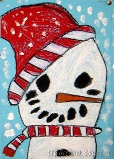 snowman art project winter art, art lessons, art blog, art cards, oil pastels, artist, art activities, art projects, kid