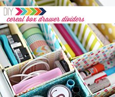 IHeart Organizing: DIY Cereal Box Drawer Dividers - this is awesome.  Jen is amazing!