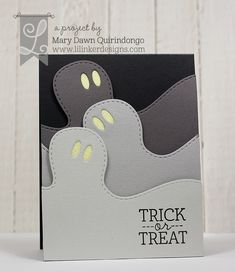 handmade Halloween card from Lil' Inker Designs ... shades of gray trio of ghost heads ... luv it!