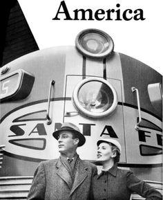Santa Fe train travel advertisement, 1953