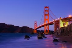 Golden Gate Bridge at night along the Pacific Coast Highway