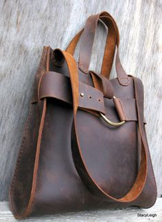 Mustang Oiled Cowhide Leather Rustic Harness Tote or by stacyleigh