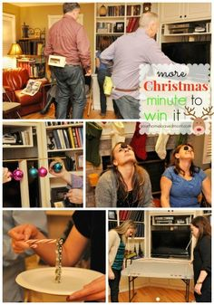More Christmas Minute To Win It Games from Yourhomebasedmom.com. This would be PERFECT for New Years!
