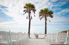 White wood folding chairs at the Hyatt Clearwater Beach