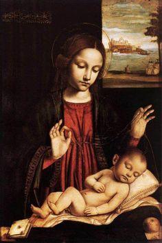 Madonna del Velo =    Ambrogio Borgognone (variously known as Ambrogio da Fossano, Ambrogio di Stefano da Fossano, Ambrogio Stefani da Fossano or as il Bergognone, c. 1470s – 1523/1524